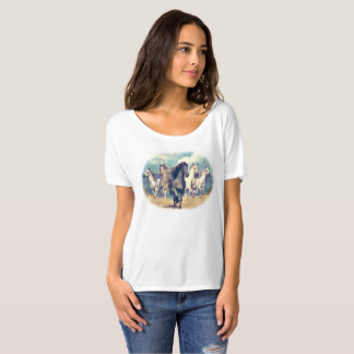 Cute Wild Horses On Beach Watercolor Painting T Shirt