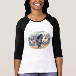 Cute Wild Horses On Beach Watercolor Painting T-Shirt