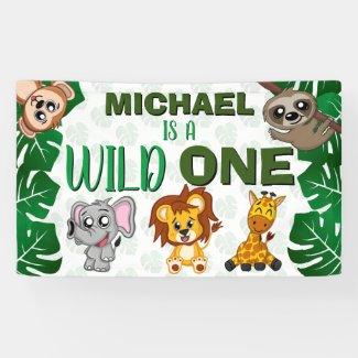 Cute Wild One Jungle Safari Animals First Birthday Banner