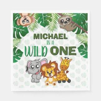Cute Wild One Jungle Safari Animals First Birthday Napkins