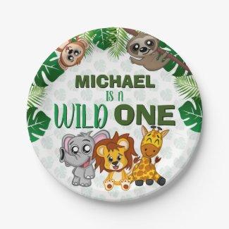 Cute Wild One Jungle Safari Animals First Birthday Paper Plate