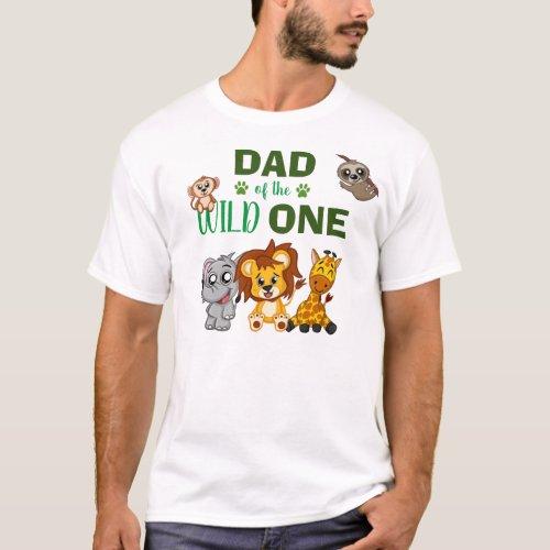Cute Wild One Jungle Safari Zoo Animal Dad T_Shirt