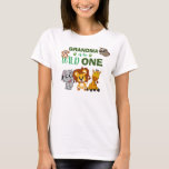 """Cute Wild One Jungle Safari Zoo Animal Grandma T-Shirt<br><div class=""""desc"""">Grandma of the wild one! Is your little boy or girl turning one? This Wild One design is perfect for their 1st birthday to let their grandma show their excitement for their grandchild. The jungle safari theme features a cartoon illustrated monkey,  sloth,  elephant,  lion,  and giraffe!</div>"""