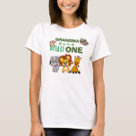 "Cute Wild One Jungle Safari Zoo Animal Grandma T-Shirt<br><div class=""desc"">Grandma of the wild one! Is your little boy or girl turning one? This Wild One design is perfect for their 1st birthday to let their grandma show their excitement for their grandchild. The jungle safari theme features a cartoon illustrated monkey,  sloth,  elephant,  lion,  and giraffe!</div>"