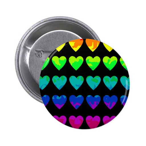 Cute wild rainbow hearts on black pinback buttons