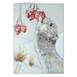 Cute wild wood mouse & berries snow scene art card cards