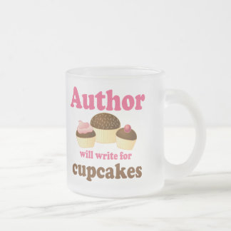 Cute Will Write For Cupcakes Author Gift Frosted Glass Coffee Mug