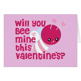 Cute Will You Bee My Valentine Greeting Card