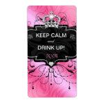Cute Wine Label Crown Keep Calm Pink Black
