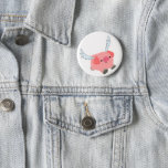 Cute Winged Cartoon Pig Pinback Button