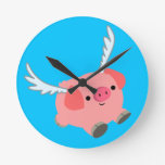Cute Winged Cartoon Pig Round Clock