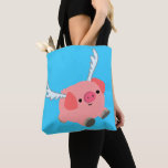 Cute Winged Cartoon Pig Tote Bag