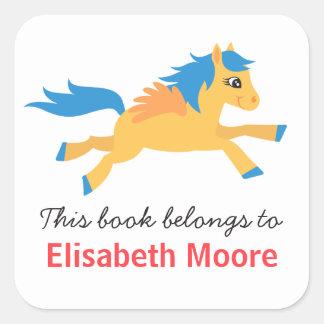 Cute winged horse animal cartoon bookplate book square sticker