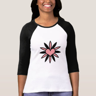 Cute wink and black flower heart. T-Shirt