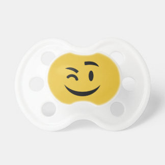 Cute winking at you emoji pacifier