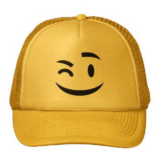 Cute winking at you emoji trucker hat
