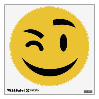 Cute winking at you emoji wall decal