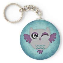 Cute winking blue owl keyring