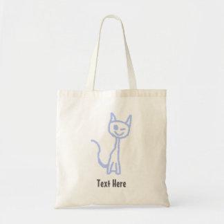 Cute winking cat. Blue. Bags