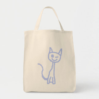 Cute winking cat. Blue. Canvas Bags