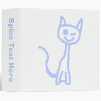 Cute winking cat. Blue. Binder
