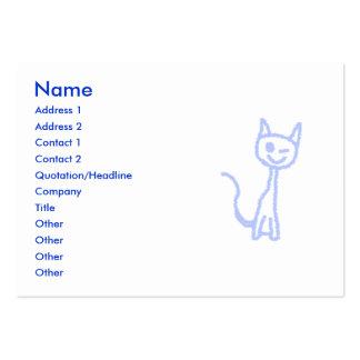 Cute winking cat. Blue. Business Card