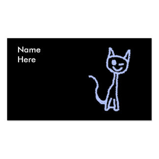 Cute winking cat. Blue. Business Cards