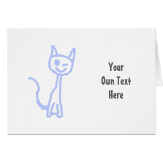 Cute winking cat. Blue. Greeting Card