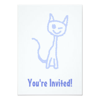 Cute winking cat. Blue. Card