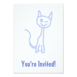 Cute winking cat. Blue. Custom Announcement