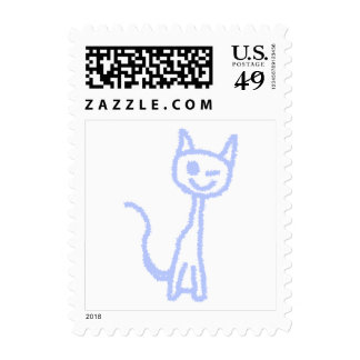 Cute winking cat. Blue. Postage Stamps