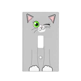Cute Winking Grey and White Cat Cartoon Light Switch Cover