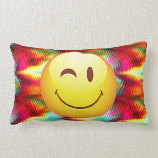 Cute Winking Happy Face and Bright Colors Pillow