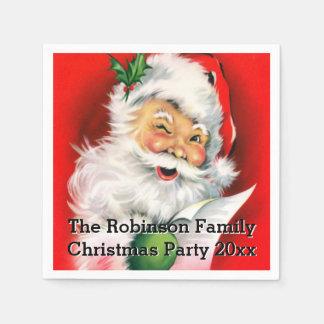 Cute Winking Santa with Christmas List Custom Paper Napkin