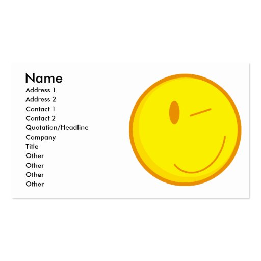 cute winking smiley face Double-Sided standard business cards (Pack of 100)