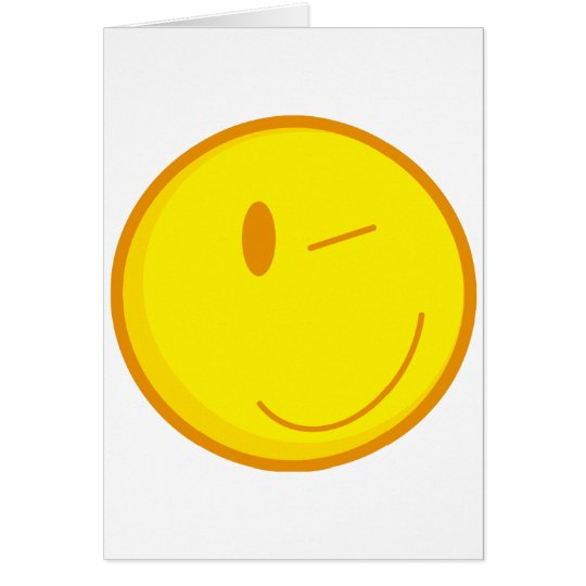 cute winking smiley face card