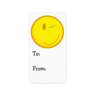 cute winking smiley face label
