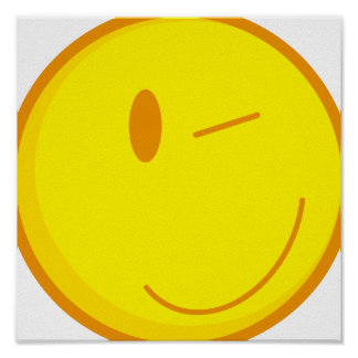 cute winking smiley face print