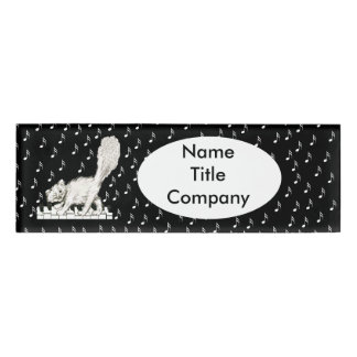 Cute Winking White Cat Prancing on Piano Keys Name Tag