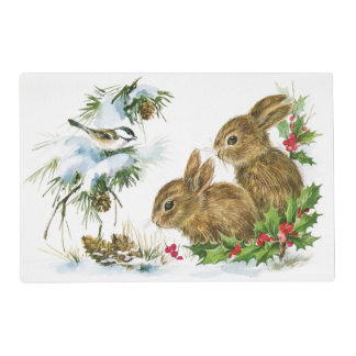 Cute Winter Baby Bunnies with Bird Holly and Snow Placemat