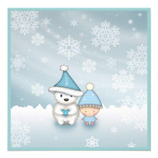 "Cute Winter Baby Shower Invitations 5.25"" Square ..."
