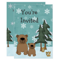 Cute Winter Bears Woodland Baby Shower Invitation