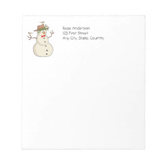 Cute Winter Birds with Snowman Christmas Chickadee Notepad