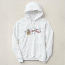 cute winter bundled up owl animal bird design embroidered hoodie