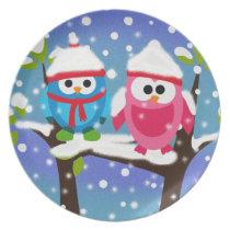 Cute Winter Christmas Owls Plate