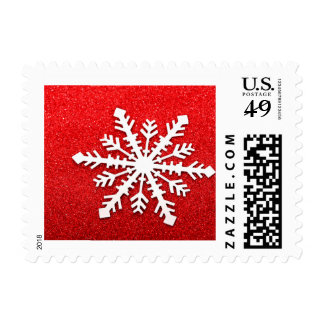 Cute Winter Christmas Snowflake on Red Glitter Postage
