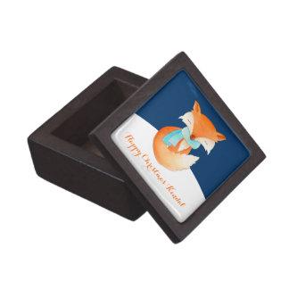 Cute winter fox art named Christmas gift box Premium Keepsake Box