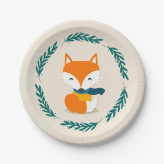 Cute Winter Fox with Scarf Paper Plate
