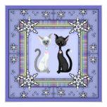 "Cute Winter Kitty Cat Birthday Invitation ~ Girls 5.25"" Square Invitation Card"