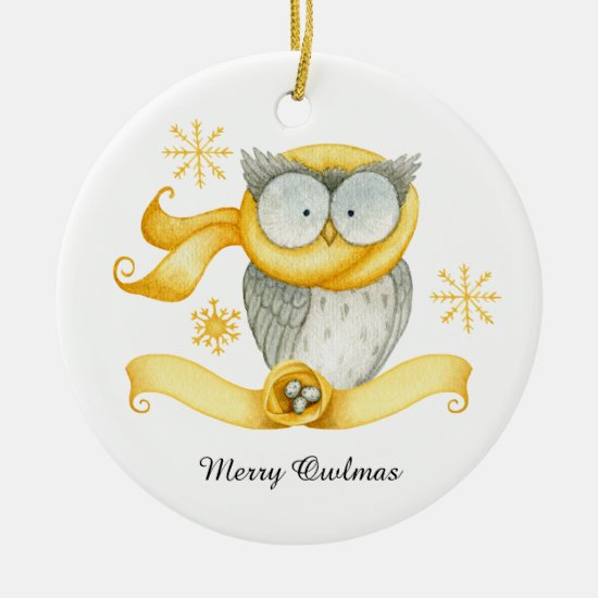 Cute Winter Owl Snowflakes Nest Christmas Ceramic Ornament